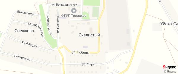 Центральная улица на карте Скалистого поселка с номерами домов