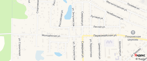 Улица Энтузиастов на карте Первомайского поселка с номерами домов