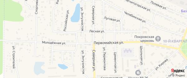 Северная улица на карте Первомайского поселка с номерами домов