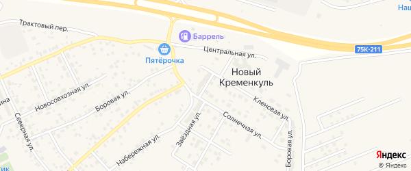Зеленая улица на карте поселка Нового Кременкуль с номерами домов