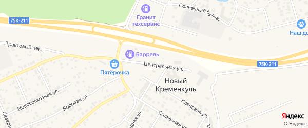 Центральная улица на карте поселка Нового Кременкуль с номерами домов