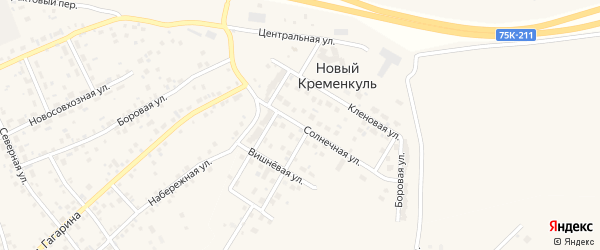Солнечная улица на карте поселка Нового Кременкуль с номерами домов