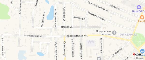 Улица Лермонтова на карте Первомайского поселка с номерами домов
