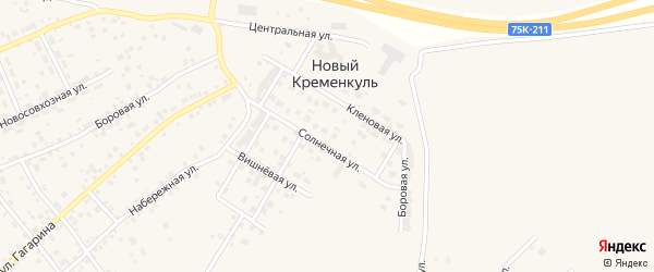 Тенистая улица на карте поселка Нового Кременкуль с номерами домов