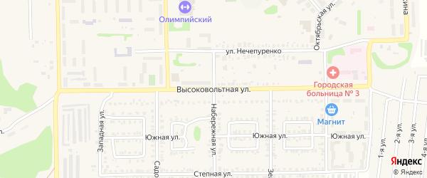 Высоковольтная улица на карте Первомайского поселка с номерами домов