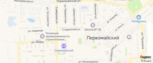 Розовый переулок на карте Первомайского поселка с номерами домов