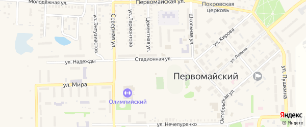Известковая улица на карте Первомайского поселка с номерами домов