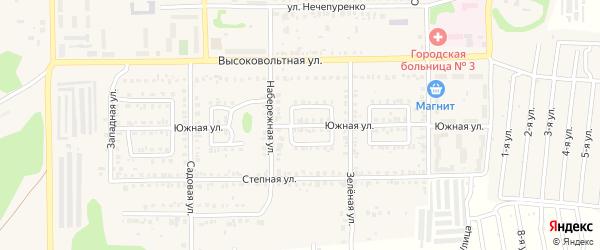 Южная улица на карте Первомайского поселка с номерами домов