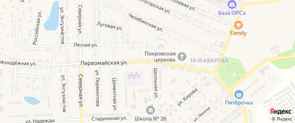 Первомайская улица на карте Первомайского поселка с номерами домов