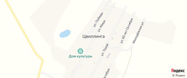 Улица Мира на карте поселка Цвиллинги с номерами домов