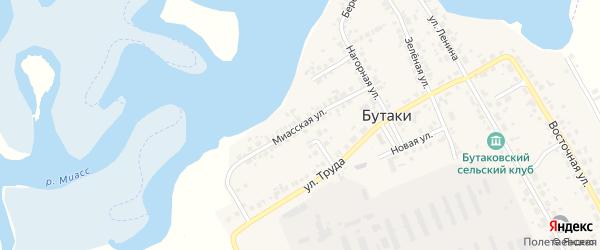 Миасская улица на карте деревни Бутаки с номерами домов
