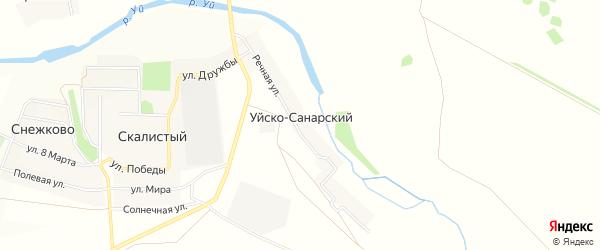 Карта Уйска-Санарского поселка в Челябинской области с улицами и номерами домов