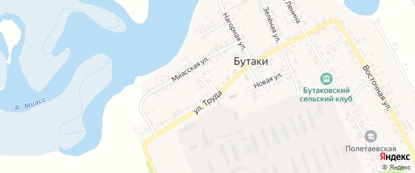 Совхозный переулок на карте деревни Бутаки с номерами домов