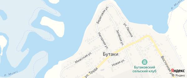 Береговой переулок на карте деревни Бутаки с номерами домов