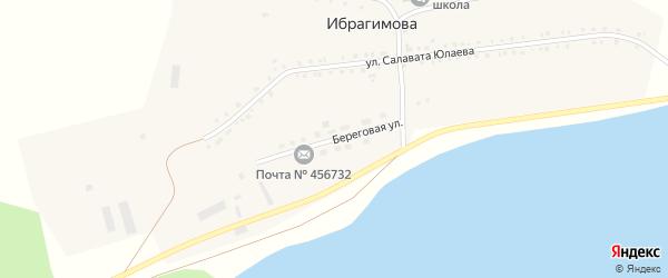 Береговая улица на карте деревни Ибрагимова с номерами домов