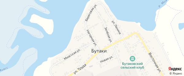 Нагорная улица на карте деревни Бутаки с номерами домов