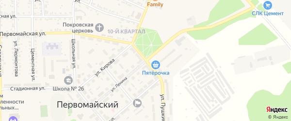 Цветная улица на карте Первомайского поселка с номерами домов