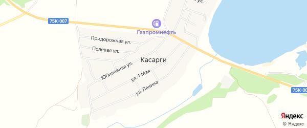 Карта деревни Касарги в Челябинской области с улицами и номерами домов