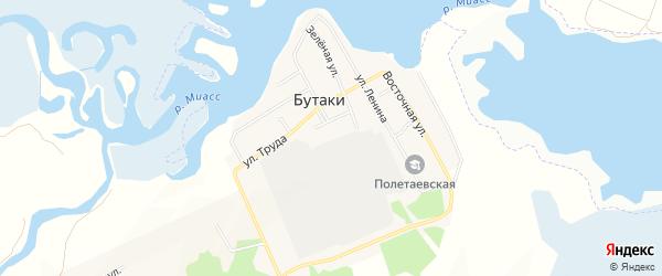 Карта деревни Бутаки в Челябинской области с улицами и номерами домов