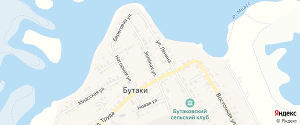 Зеленая улица на карте деревни Бутаки с номерами домов