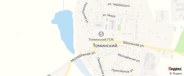 Пионерская улица на карте Томинского поселка с номерами домов