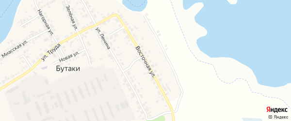 Восточная улица на карте деревни Бутаки с номерами домов