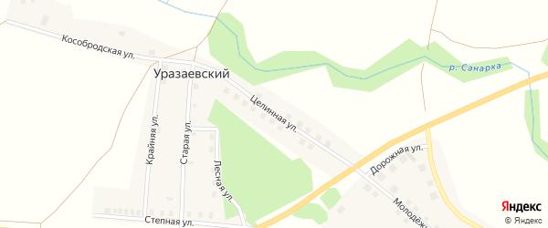 Целинная улица на карте села Нижней Санарки с номерами домов