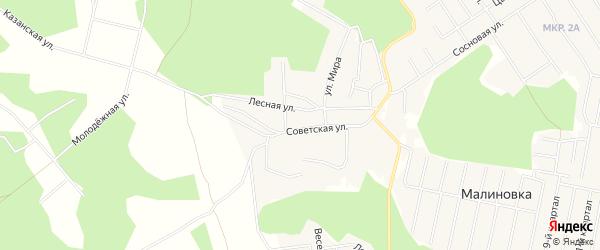 Карта деревни Малиновки в Челябинской области с улицами и номерами домов