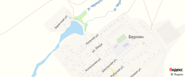 Нижняя улица на карте поселка Берлина с номерами домов