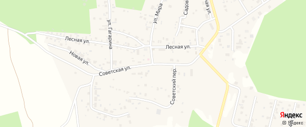 Советский переулок на карте деревни Малиновки с номерами домов