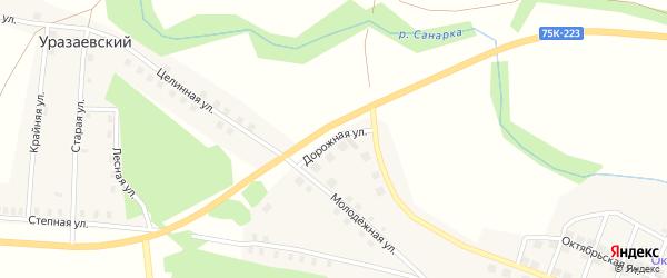 Дорожная улица на карте села Нижней Санарки с номерами домов