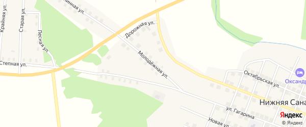 Молодежная улица на карте села Нижней Санарки с номерами домов