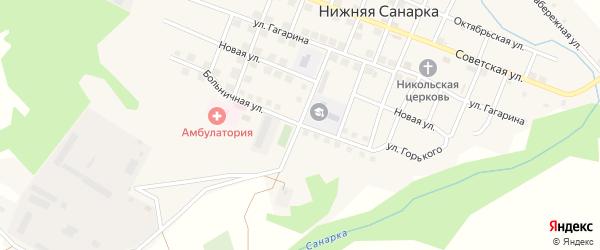 Больничная улица на карте села Нижней Санарки с номерами домов