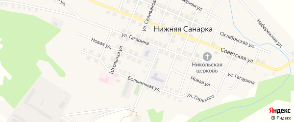 Новая улица на карте села Нижней Санарки с номерами домов