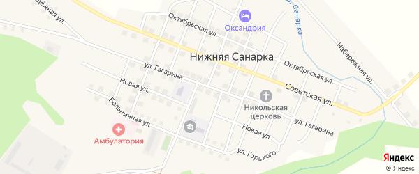 Улица Гагарина на карте села Нижней Санарки с номерами домов