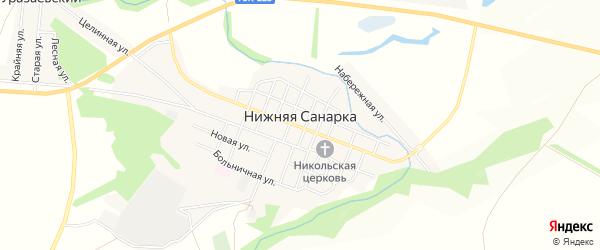 Карта села Нижней Санарки в Челябинской области с улицами и номерами домов