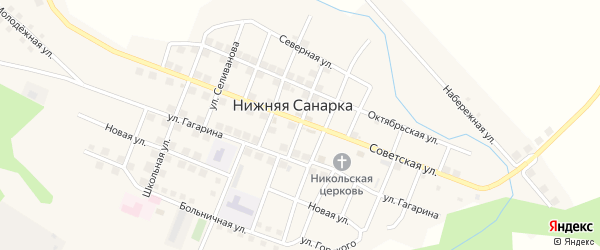 Пионерская улица на карте села Нижней Санарки с номерами домов