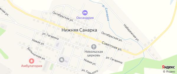 Советская улица на карте села Нижней Санарки с номерами домов