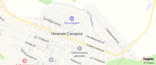 Октябрьская улица на карте села Нижней Санарки с номерами домов