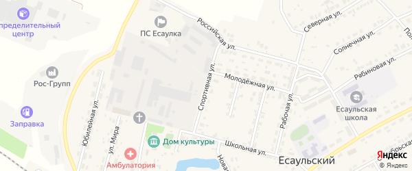 Спортивная улица на карте Есаульского поселка с номерами домов
