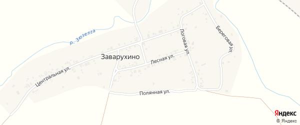 Лесная улица на карте деревни Заварухино с номерами домов