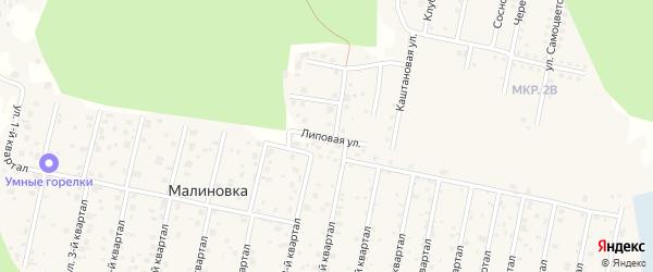 Улица Липовая (мкр 2-б) на карте деревни Малиновки с номерами домов