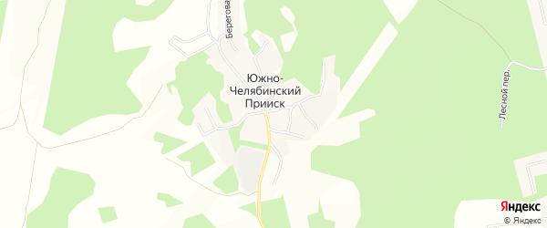 Карта поселка Южно-Челябинский Прииск в Челябинской области с улицами и номерами домов