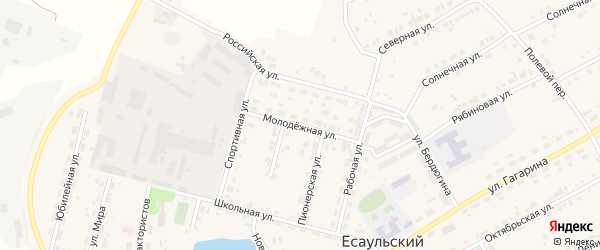 Молодежная улица на карте Есаульского поселка с номерами домов