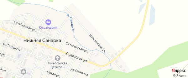 Набережная улица на карте села Нижней Санарки с номерами домов