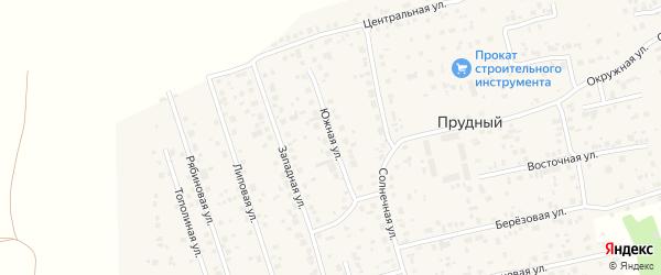 Южная улица на карте Прудного поселка с номерами домов