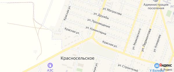 Красная улица на карте Красногорского поселка с номерами домов