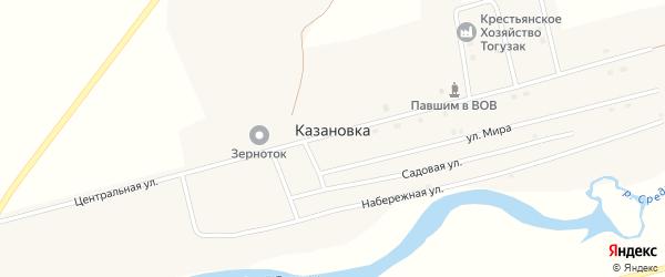 Школьный переулок на карте поселка Казановки с номерами домов