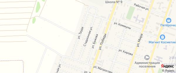 Стадионная улица на карте Красногорского поселка с номерами домов