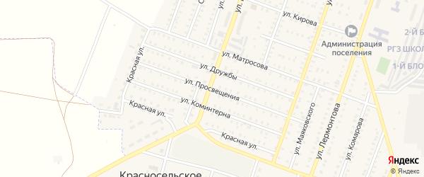 Улица Просвещения на карте Красногорского поселка с номерами домов